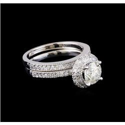 1.80 ctw Diamond Wedding Ring Set - 14KT White Gold