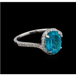 2.95 ctw Apatite and Diamond Ring - 14KT White Gold