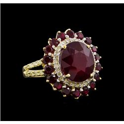 9.11 ctw Ruby and Diamond Ring - 14KT Yellow Gold