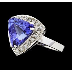 4.78 ctw Tanzanite and Diamond Ring - 14KT White Gold