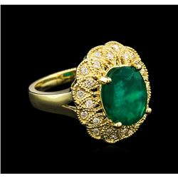 3.38 ctw Emerald and Diamond Ring - 14KT Yellow Gold