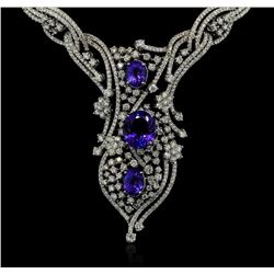 GIA Cert 19.61 ctw Tanzanite and Diamond Suite - 14KT White Gold