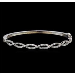 0.94 ctw Diamond Bangle Bracelet - 14KT White Gold