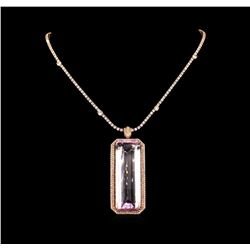 14KT Rose Gold GIA Certified 162.70 ctw Kunzite and Diamond Pendant With Chain
