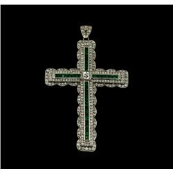 1.52 ctw Emerald and Diamond Pendant With Chain - Platinum