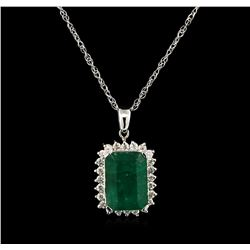 10.81 ctw Emerald and Diamond Pendant With Chain - 14KT White Gold