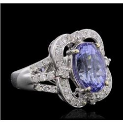 14KT White Gold 5.85 ctw Tanzanite and Diamond Ring