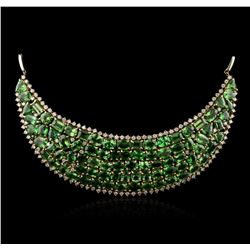 12.27 ctw Tsavorite Garnet and Diamond Chest Plate Necklace - 14KT Yellow And Wh