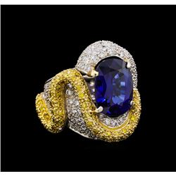 8.16 ctw Sapphire and Diamond Ring - 18KT White Gold