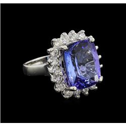 11.85 ctw Tanzanite and Diamond Ring - 14KT White Gold