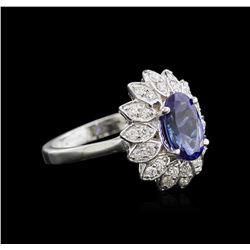1.91 ctw Tanzanite and Diamond Ring - 14KT White Gold