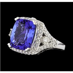 GIA Cert 8.38 ctw Tanzanite and Diamond Ring - 14KT White Gold