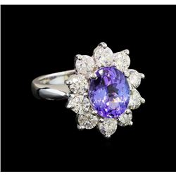 14KT White Gold 2.80 ctw Tanzanite and Diamond Ring