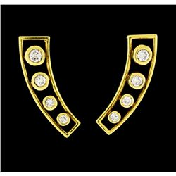 0.42 ctw Diamond Earrings - 18KT Yellow Gold