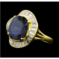 7.35 ctw Sapphire And Diamond Ring - 18KT Yellow Gold