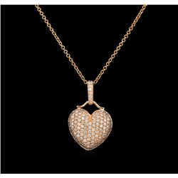 1.93 ctw Diamond Heart Pendant - 14KT Rose Gold