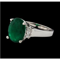 3.73 ctw Emerald and Diamond Ring - 14KT White Gold