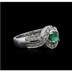 14KT White Gold 0.82 ctw Emerald and Diamond Ring