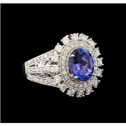 2.23 ctw Tanzanite and Diamond Ring - 14KT White Gold
