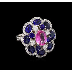 1.52 ctw Pink Topaz, Sapphire and Diamond Ring - 14KT White Gold