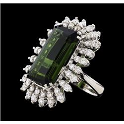 16.67 ctw Tourmaline and Diamond Ring - 14KT White Gold
