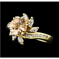 1.24 ct. Morganite and Diamond Ring - 14KT Yellow Gold