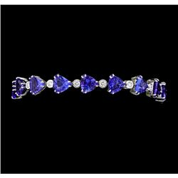25.91 ctw Tanzanite And Diamond Bracelet - 14KT White Gold
