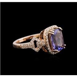 2.85 ctw Tanzanite and Diamond Ring - 14KT Rose Gold