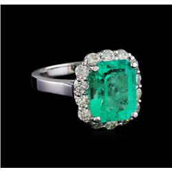 4.50 ctw Emerald and Diamond Ring - 14KT White Gold