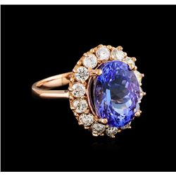 6.96 ctw Tanzanite and Diamond Ring - 14KT Rose Gold