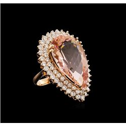 22.88 ctw Morganite and Diamond Ring - 14KT Rose Gold