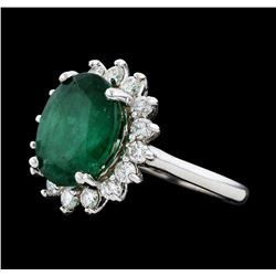 5.73 ctw Emerald and Diamond Ring - 14KT White Gold