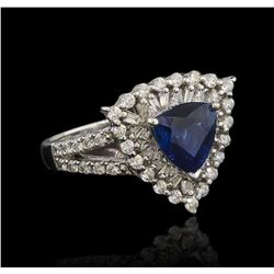 2.14 ctw Sapphire and Diamond Ring - 14KT White Gold