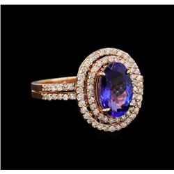 2.35 ctw Tanzanite and Diamond Ring - 14KT Rose Gold