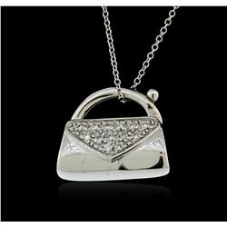 14KT White Gold 0.13 ctw Diamond Purse Pendant With Chain