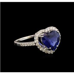 2.46 ctw Sapphire and Diamond Ring - 18KT White Gold