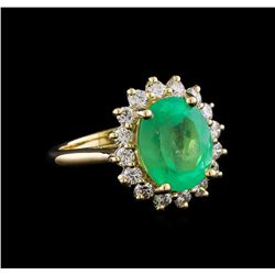 4.67 ctw Emerald and Diamond Ring  - 14KT Yellow Gold