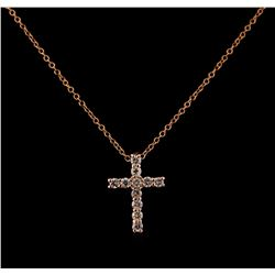 0.39 ctw Diamond Cross Pendant With Chain - 14KT Rose Gold