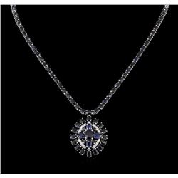 36.71 ctw Blue Sapphire and Diamond Necklace - 14KT White Gold