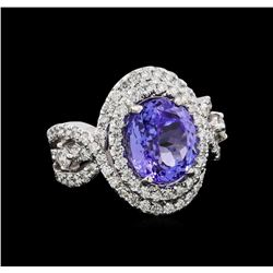 4.45 ctw Tanzanite and Diamond Ring - 14KT White Gold