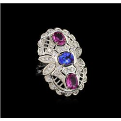2.18 ctw Pink Sapphire, Tanzanite and Diamond Ring - 14KT White Gold