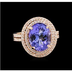 4.92 ctw Tanzanite and Diamond Ring - 14KT Rose Gold
