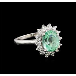 2.92 ctw Emerald and Diamond Ring - 14KT White Gold