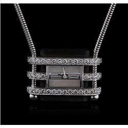 Van Cleef & Arpels 18KT White Gold Diamond Watch Chain Necklace