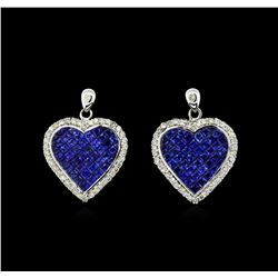 9.58 ctw Blue Sapphire and Diamond Earrings - 18KT White Gold