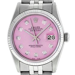 Rolex Mens 36mm Stainless Steel Ice Pink Diamond Datejust Wristwatch
