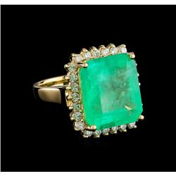 9.93 ctw Emerald and Diamond Ring - 14KT Yellow Gold