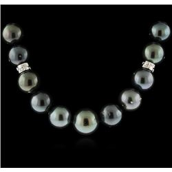 14KT White Gold Tahitian Pearl and Diamond Necklace