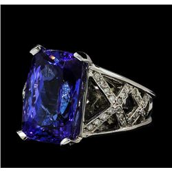 13.27 ctw Tanzanite and Diamond Ring - 14KT White Gold