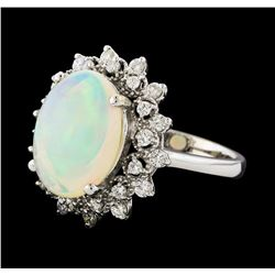 3.20 ctw Opal and Diamond Ring - 14KT White Gold